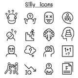 Stupid, foolish, Silly icon set in thin line style. Vector illustration graphic design Stock Photography