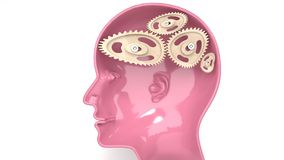 Stupid man - human head profile with a broken mechanism inside, twisted and bent cogwheels stock illustration