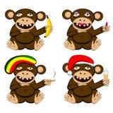 Stupid monkey set Stock Images