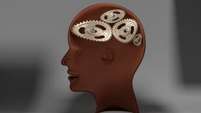 Stupid person - human head with broken mind, dark grey background. Stupid person - human head with twisted and misaligned wooden cogwheels inside, symbolizes Stock Photos
