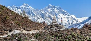 Stupor and Everest. Trekking around Namche Bazaar and views to Everest Sagamatha national Park Nepal Stock Photography