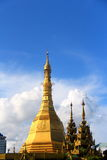 Stuppa in the center of town burma. The downtown park in the center of yangon burma myanmar Royalty Free Stock Image