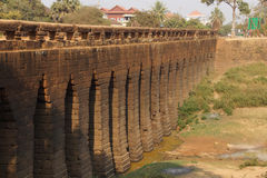 Sturdy corbeled arches of  Angkor bridge,. Sturdy corbeled arches of ancient 8th century Angkor bridge,  near Kampong Thom,  Cambodia Royalty Free Stock Images