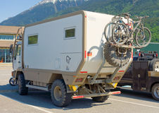 A sturdy german motor home traveling through alaska Stock Image