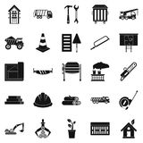 Sturdy house icons set, simple style. Sturdy house icons set. Simple set of 25 sturdy house vector icons for web isolated on white background Stock Photography