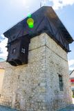 A sturdy medieval defensive tall tower. Royalty Free Stock Photography