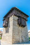A sturdy medieval defensive tall tower. Royalty Free Stock Images