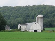 Sturdy old barn and silos could use a face lift royalty free stock photography