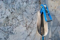 Sturdy rope that holds marble slabs. Marble slabs stored in the quarry in Carrara - Italy Stock Images