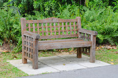 Sturdy Wooden Bench In A Park Stock Photo