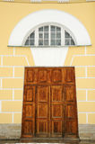 Sturdy wooden gate. Royalty Free Stock Photo