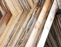 Sturdy wooden planks stacked to be dried. Huge wooden planks stacked to be dried in the sun before processing industry Stock Photo