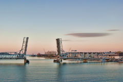 Sturgeon Bay Drawbridge. The drawbridge across Sturgeon Bay in Wisconsin, open, at dusk Royalty Free Stock Photo