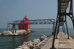 Sturgeon Bay Pier Lighthouse. Sturgeon Bay Wisconsin Pier Lighthouse on Lake Michigan stock photography