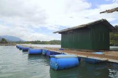 Sturgeon cage farming in Tuyen Lam lake in Da Lat city Stock Image