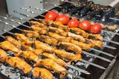 Sturgeon fillets on a skewer Stock Photography