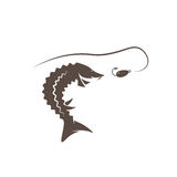 Sturgeon fish and lure vector design. Template Stock Photo