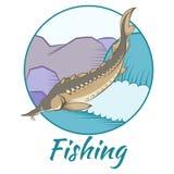 Sturgeon fishing banner Royalty Free Stock Photography