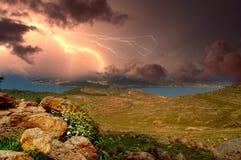 Sturm über dem Ägäischen Meer Stockfotografie