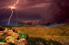 Sturm über dem Ägäischen Meer Lizenzfreies Stockbild