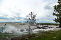 Sturm über dem See Stockfotos