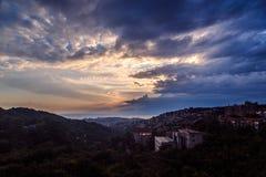 Sturm über der Stadt von Triest Stockfotos