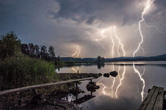 Sturm auf dem See Stockfotografie