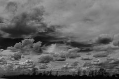 Sturm Couds über Iowa in Noir Stockbilder