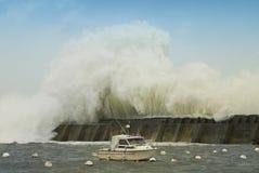 Sturm in einem Hafen Stockbilder