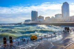 Sturm im Hafen Stockbild