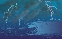 Sturm in Meer lizenzfreie stockfotografie