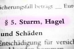 Sturm u. Hagel Stockfoto