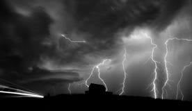 Sturm-Wolken-Saskatchewan-Blitz Stockbild