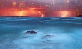 Sturmnacht in Meer mit digitalen Binärzahlen Stockfoto