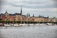 Sturmwolken über Stockholm, Schweden Stockbilder