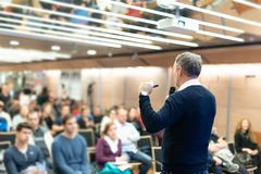 Sturtup expert giving talk at business event workshop. royalty free stock photos