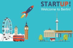 Sturtup, welcome to Berlin. Moving startups from England to Germany - Vector Concept Royalty Free Stock Photo