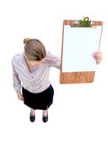 Sturzfrau mit Klemmbrett Lizenzfreies Stockfoto