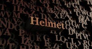 Sturzhelm - hölzernes 3D übertrug Buchstaben/Mitteilung stock abbildung