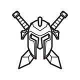Sturzhelm und Klinge eines mittelalterlichen Ritters vektor abbildung