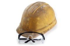 Sturzhelm- und Schutzbrillearbeit lizenzfreies stockfoto