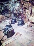Sturzhelme, benutzt von Capoliveri-Bergmännern Lizenzfreie Stockfotografie