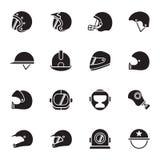Sturzhelme und Maskenikonen Stockbilder