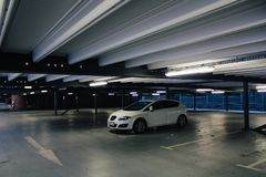 Stutgart, Germany - 03 31 2013: A car in parking garage interior, industrial building, Mercedes-Benz Museum stock photography