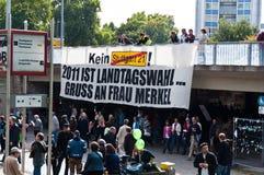 STUTTGART - 2010-09-18: Demonstratie tegen S21 Stock Foto