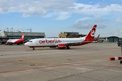 Stuttgart Airport. A Air Berlin Plane had landed Royalty Free Stock Images