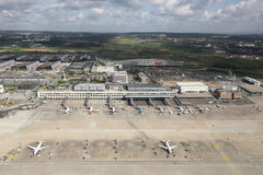 Stuttgart Airport. Stuttgart, Germany - April 9, 2014: Overview of Stuttgart Airport (STR) and the Stuttgart Fair in Germany. Stuttgart is the sixth busiest Stock Photography
