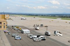 Stuttgart Airport. A plane has landed at Stuttgart Airport Royalty Free Stock Photo