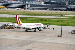 Stuttgart Airport. A plane has landed at Stuttgart Airport Royalty Free Stock Photography