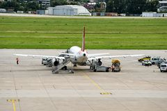 Stuttgart Airport. A plane has landed at Stuttgart Airport Royalty Free Stock Images